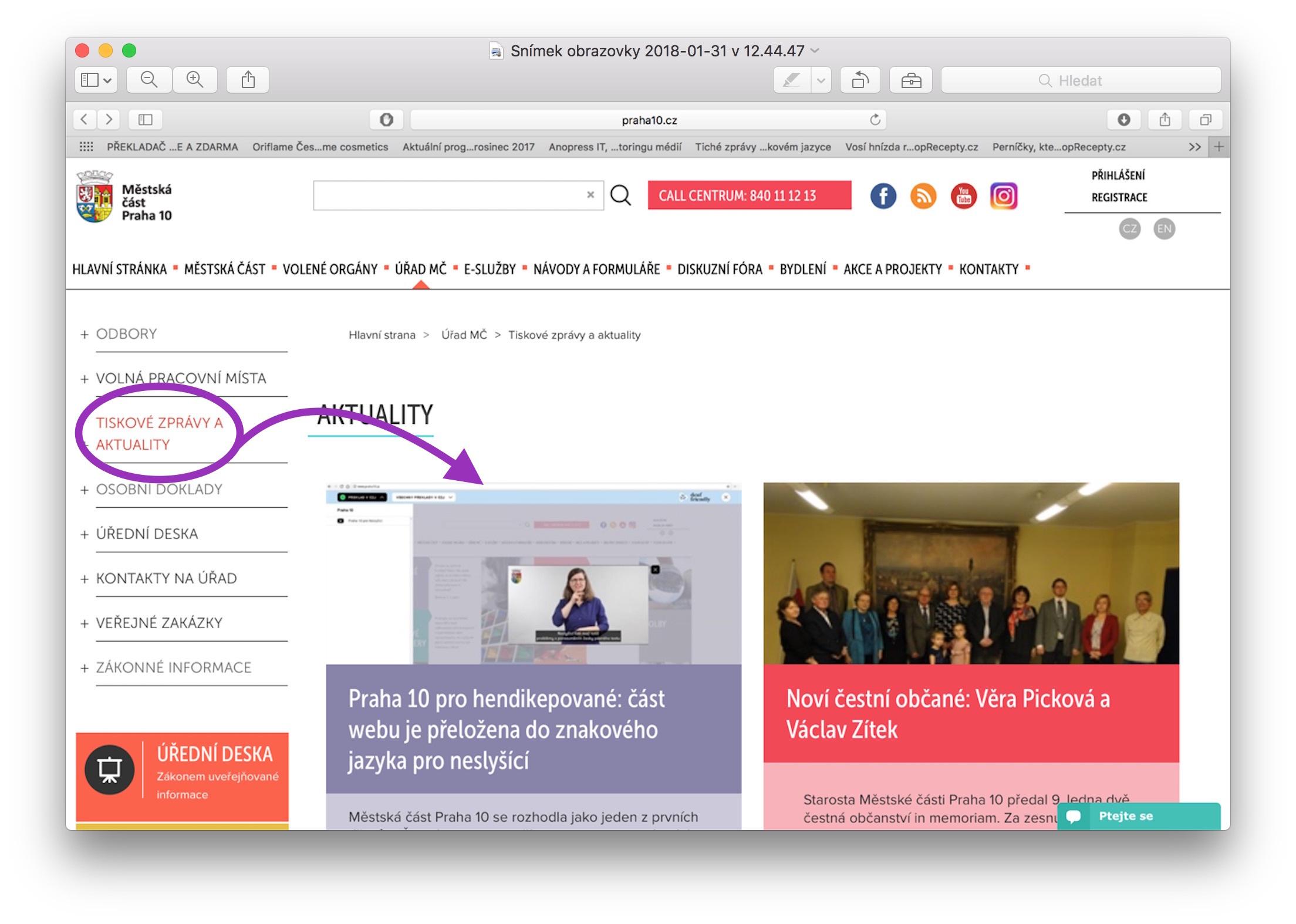 Photo of Úřad vPraze 10 má část webových stránek ve znakovém jazyce